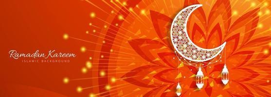 Bannière kareem ramadan rouge orange vecteur