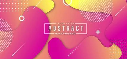 Fond fluide abstrait rose et jaune vecteur