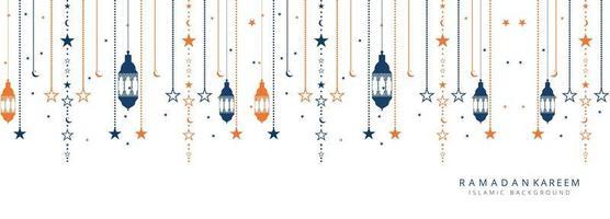 Bannière des lumières élégantes du Ramadan Kareem vecteur