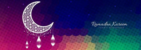 Modèle de bannière moderne coloré Ramadan Kareem vecteur