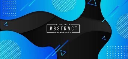 Fond fluide abstrait bleu et noir vecteur