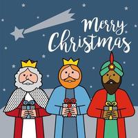 Les trois rois d'orient sur fond bleu. vecteur