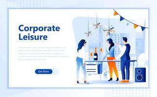 Modèle de page de destination pour le Web plat de loisirs d'entreprise vecteur