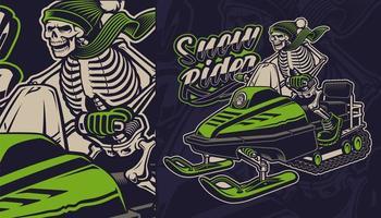 Squelette sur la motoneige Design vecteur