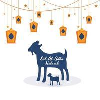 Carte Eid Al Adha avec illustration de la lanterne de chèvre