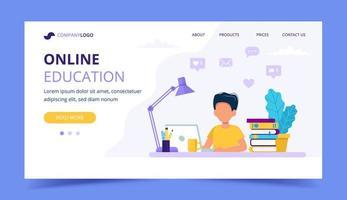 Éducation en ligne pour les enfants page de destination vecteur