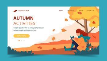 Fille lisant dans le parc en automne vecteur