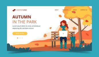 Fille avec ordinateur portable assis sur un banc en automne. Modèle de page de destination