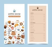 Modèle de menu de café avec différents éléments de café vecteur