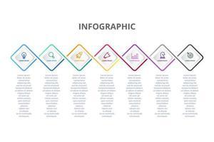 Conception infographique avec 7 options d'icônes ou étapes vecteur