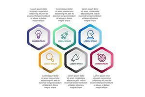 polygone infographie conception de vecteur avec des options d'icônes ou des étapes