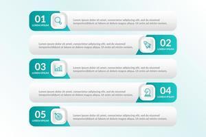 liste conception infographique avec 5 listes pour le concept d'entreprise