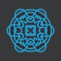 Mandala numérique abstrait bleu avec ombre