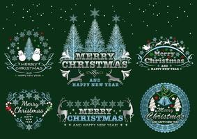 Ensemble d'emblèmes de Noël vecteur