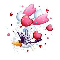 Oiseau drôle avec un papillon cravate vole avec un tas de ballons