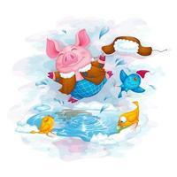 Les amis des cochons et des oiseaux s'amusent en sautant dans la flaque de printemps