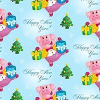 cochon avec motif de cadeaux de Noël vecteur