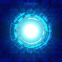 Cercle abstrait technologie numérique fond bleu