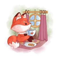 renard roux assis près d'une fenêtre ronde buvant du thé chaud