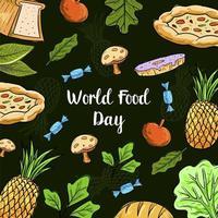 Journée mondiale de l'alimentation avec motif de fruits colorés vecteur