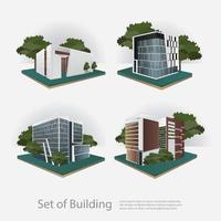 Bâtiments isométriques de la ville moderne