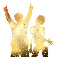 Couple de fête sur un fond de confettis d'or