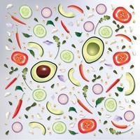 Fond de nourriture crue motif coloré vecteur