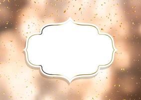 Cadre décoratif sur un fond de confettis d'or