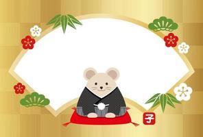 Le modèle de carte de voeux du nouvel an année du rat. vecteur
