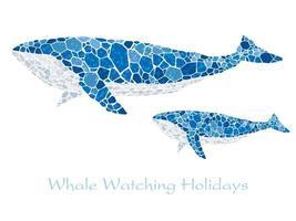 Mosaïque des baleines bleues. vecteur