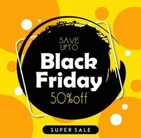 Bannière Black Friday Sale avec des cercles orange vecteur