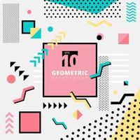 Modèle memphis de conception de motif géométrique pour la mode dans des tons colorés