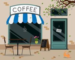 Devant un magasin de café