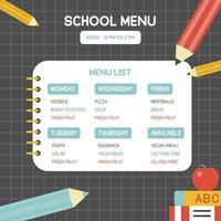 Modèle d'affiche de menu scolaire vecteur