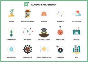 Ensemble d'icônes d'énergie et d'écologie vecteur