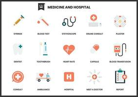 Ensemble d'icônes d'hôpital de médecine sur blanc vecteur