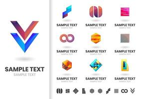 Ensemble de logos de forme géométrique moderne vecteur