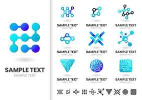 Ensemble de formes de logo dégradé bleu