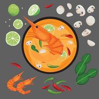 Recette de la soupe thaïlandaise épicée aux crevettes et ses ingrédients vecteur