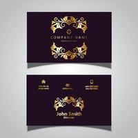 Conception élégante de cartes de visite en or
