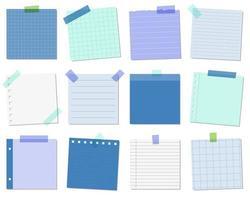 Notes autocollantes bleues vecteur