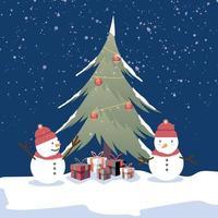 Fond joyeux Noël bonhomme de neige