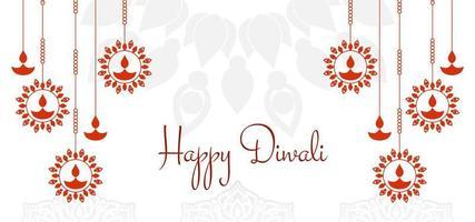 Joyeux Diwali simple motif graphique rouge salutation vecteur