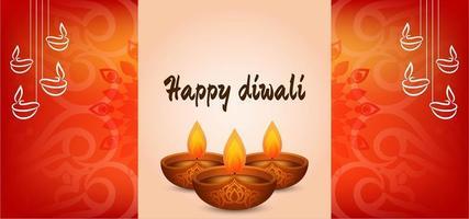 Joyeux Diwali orange rouge vecteur