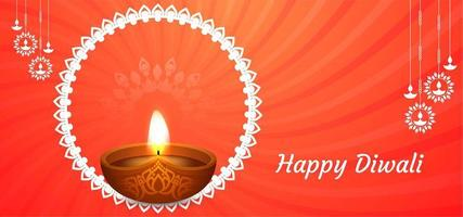 Joyeux fond orange Diwali avec diya classique vecteur