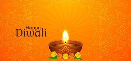 Joyeux Diwali avec un seul diya rougeoyant vecteur