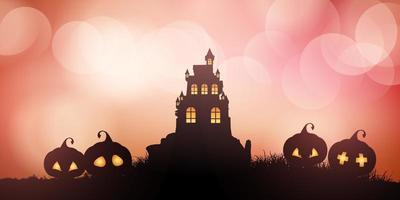 Bannière Halloween maison hantée avec citrouilles vecteur