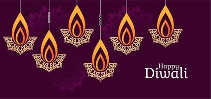 Lampe de diya abstraite salutation Diwali vecteur