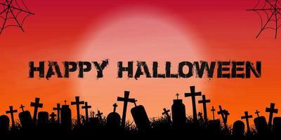 Silhouette du cimetière bannière joyeux Halloween vecteur