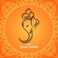 Ethnique Ganesh Chaturthi fond orange vif